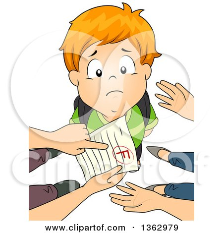 Clipart of a Sad Red Haired White School Boy Looking up As His Parents Point out a Grade of F - Royalty Free Vector Illustration by BNP Design Studio