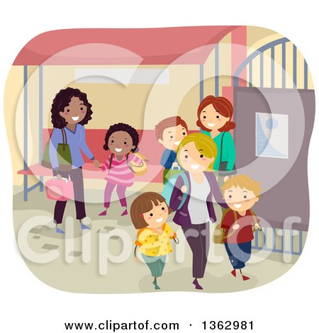 Clipart of Mothers Picking up Their School Children at a Gate - Royalty Free Vector Illustration by BNP Design Studio
