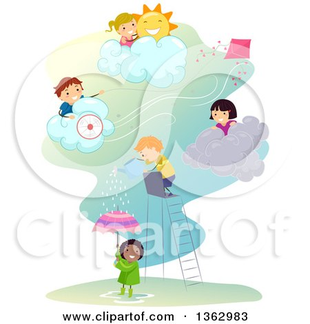 Children Playing in Different Weather Conditions Posters, Art Prints