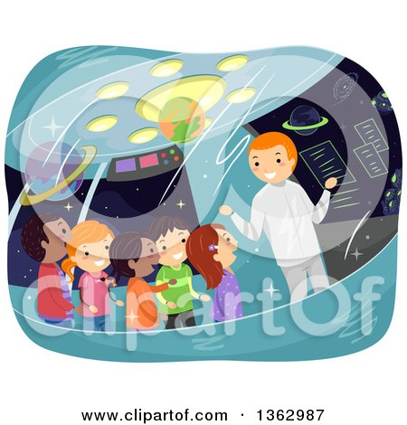 Clipart of a Man Giving a Tour to School Children on a Space Ship - Royalty Free Vector Illustration by BNP Design Studio