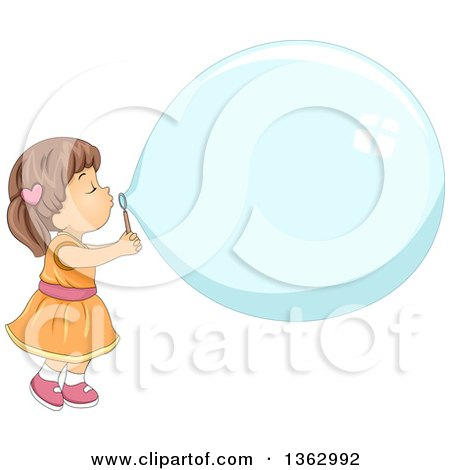 Clipart of a Brunette White Toddler Girl Blowing a Giant Bubble - Royalty Free Vector Illustration by BNP Design Studio
