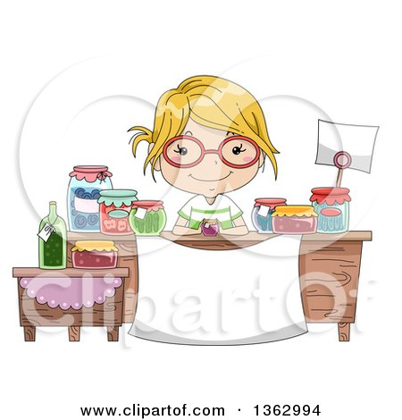 Clipart of a Happy Blond White Girl Wearing Glasses and Selling Preserved Foods - Royalty Free Vector Illustration by BNP Design Studio