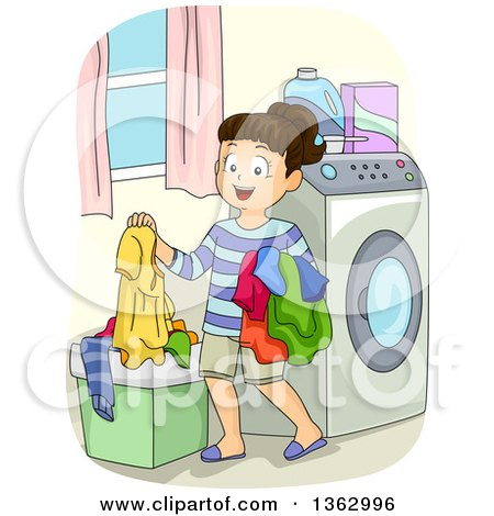 Clipart of a Happy Brunette White Girl Putting Dirty Laundry in a Hamper - Royalty Free Vector Illustration by BNP Design Studio
