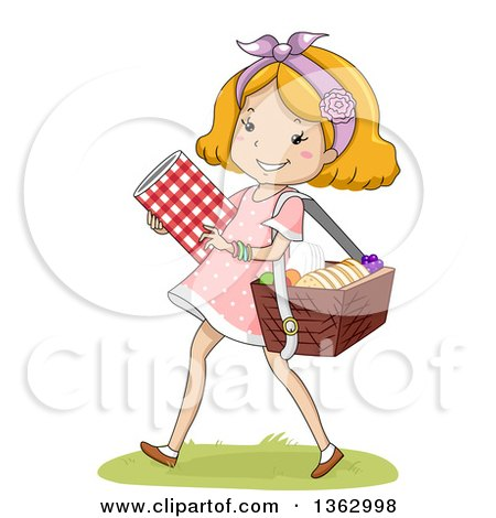 Clipart of a Happy Strawberry Blond White Girl Carrying a Blanket and Picnic Basket - Royalty Free Vector Illustration by BNP Design Studio