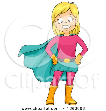 Clipart of a Happy Blond White Super Hero Girl Posing in a Pink and Turquoise Suit - Royalty Free Vector Illustration by BNP Design Studio