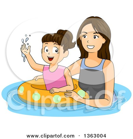 Clipart of a Happy Brunette Caucasian Mother Teaching Her Daughter How to Swim with an Inner Tube - Royalty Free Vector Illustration by BNP Design Studio