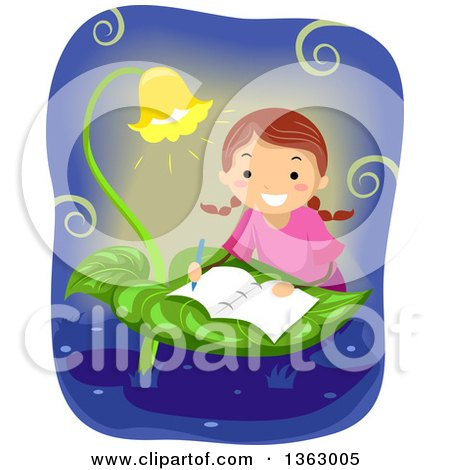 Clipart of a Happy Brunette White School Girl Writing a Book on a Leaf Table - Royalty Free Vector Illustration by BNP Design Studio