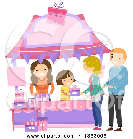 Clipart of a Happy Brunette White Girl Selling a Gift to a Couple at a Booth - Royalty Free Vector Illustration by BNP Design Studio