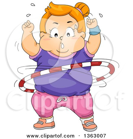 Clipart of a Chubby Determined Red Haired White Girl Exercising with a Hula Hoop - Royalty Free Vector Illustration by BNP Design Studio