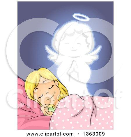 Clipart of a Blond White Girl Dreaming, with an Angel Watching over Her - Royalty Free Vector Illustration by BNP Design Studio