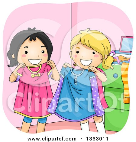 Clipart of Happy Asian and White Girls Swapping Clothes - Royalty Free Vector Illustration by BNP Design Studio