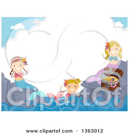 Clipart of a Group of Female Mermaids with Treasure, with Text Space on a Cloud - Royalty Free Vector Illustration by BNP Design Studio