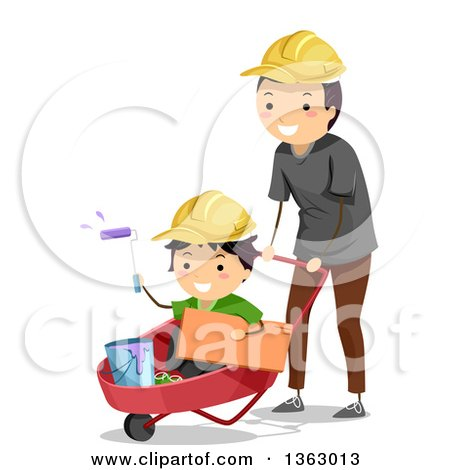 Clipart of a Happy Father Wearing a Hard Hat, Pushing His Son in a Wheelbarrow with Paint - Royalty Free Vector Illustration by BNP Design Studio