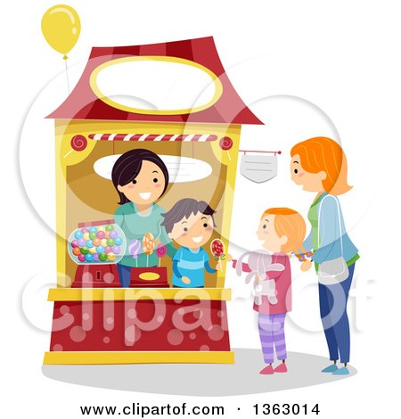 Clipart of a Mother and Daughter Purchasing Candy from a Booth - Royalty Free Vector Illustration by BNP Design Studio