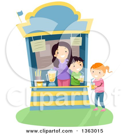 Clipart of a Girl Purchasing a Glass of Juice from a Vendor Stand - Royalty Free Vector Illustration by BNP Design Studio