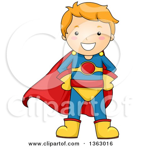 Clipart of a Happy Red Haired Caucasian Super Hero Boy - Royalty Free Vector Illustration by BNP Design Studio