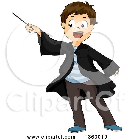 Clipart of a Happy Brunette White Male Wizard Pointing a Wand - Royalty Free Vector Illustration by BNP Design Studio