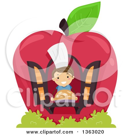 Clipart of a Happy Brunette White Boy Holding a Pie in the Window of an Apple House - Royalty Free Vector Illustration by BNP Design Studio