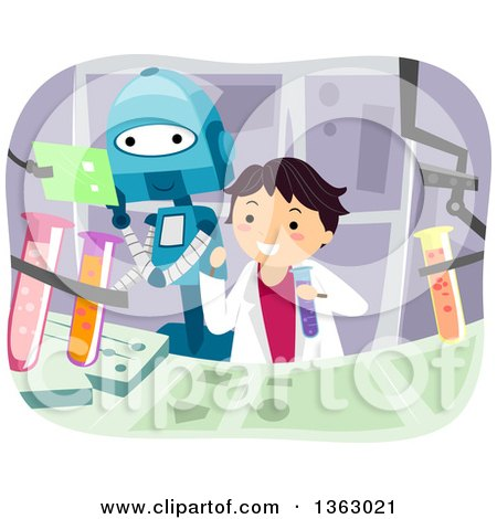 Clipart of a Boy and Robot Working on a Science Project - Royalty Free Vector Illustration by BNP Design Studio
