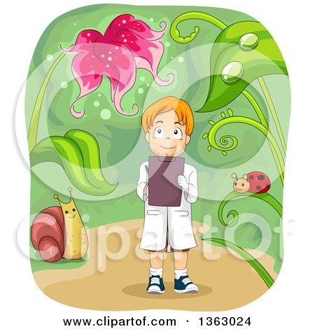 Clipart of a Red Haired White Biologist Boy Gazing up at a Flower and Taking Notes - Royalty Free Vector Illustration by BNP Design Studio