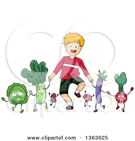 Clipart of a Happy Caucasian Boy Holding Hands and Walking with Vegetable Characters - Royalty Free Vector Illustration by BNP Design Studio