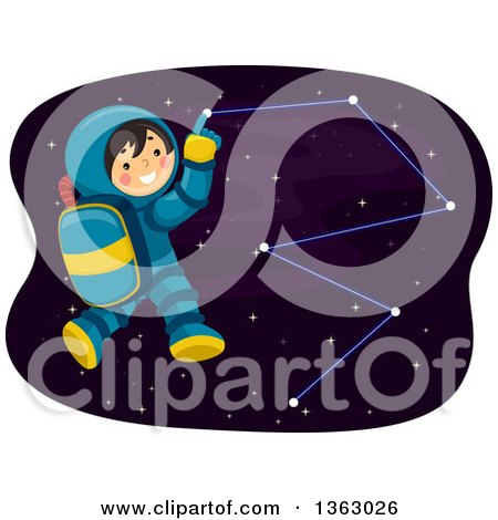 Clipart of a Happy Astronaut Boy Pointing to a Constellation in Outer Space - Royalty Free Vector Illustration by BNP Design Studio