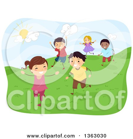 Clipart of Happy Children Running on a Hill on a Sunny Day - Royalty Free Vector Illustration by BNP Design Studio