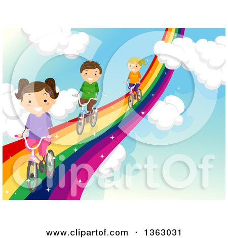 Clipart of Children Riding Bicycles on a Rainbow Road in the Sky - Royalty Free Vector Illustration by BNP Design Studio