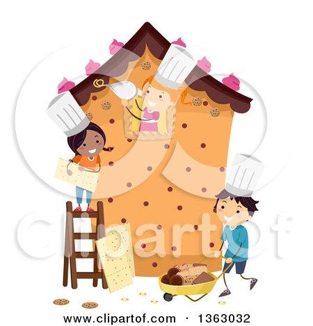 Clipart of a Group of Happy Children Building a Life Size Gingerbread House - Royalty Free Vector Illustration by BNP Design Studio