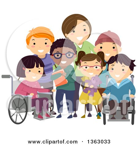 Clipart of a Group of Handicap Children and a Female Nurse Posing for a Picture - Royalty Free Vector Illustration by BNP Design Studio