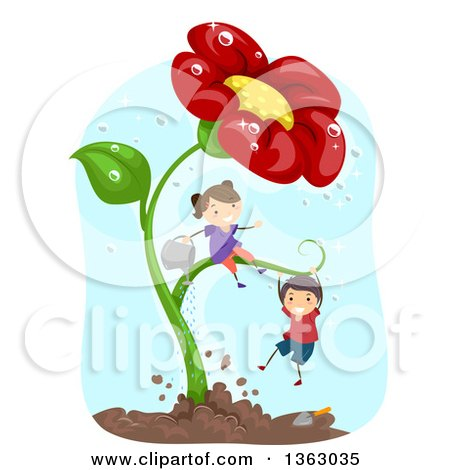 Clipart of a White Boy and Girl Playing on and Watering a Giant Red Daisy Flower Plant - Royalty Free Vector Illustration by BNP Design Studio