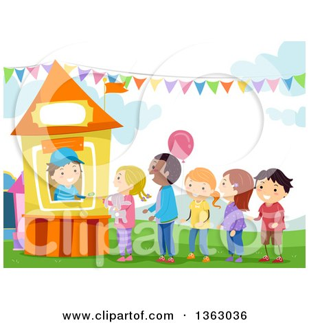 Clipart of a Boy Selling Tickets to Children at a Carnival Booth - Royalty Free Vector Illustration by BNP Design Studio