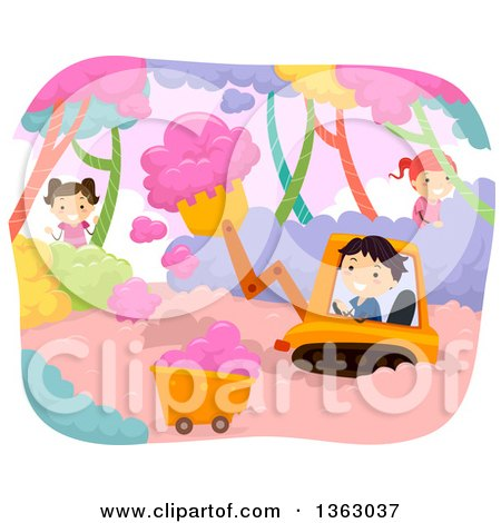 Clipart of Children Farming and Harvesting Cotton Candy - Royalty Free Vector Illustration by BNP Design Studio