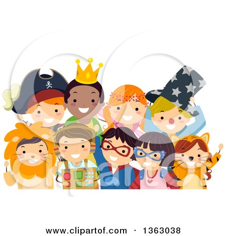 Clipart of a Group of Happy Children in Costumes - Royalty Free Vector Illustration by BNP Design Studio