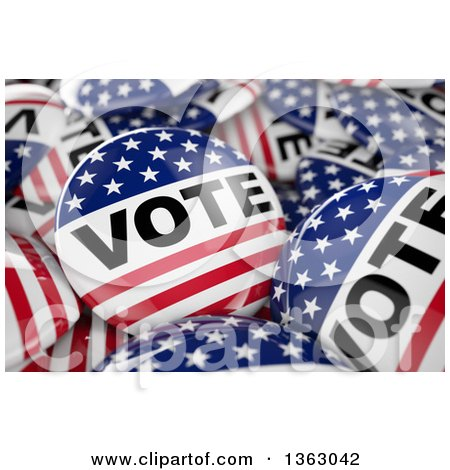 Clipart of 3d American Presidential Election Vote Buttons - Royalty Free Illustration by stockillustrations