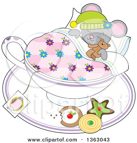 Clipart of a Cartoon Gray Mouse Holding a Teddy Bear and Sleeping in a Tea Cup with Cookies on the Saucer - Royalty Free Vector Illustration by Maria Bell