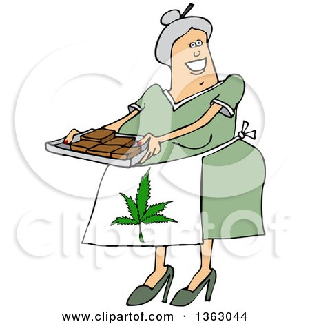 Clipart Of A Cartoon Happy Chubby White Senior Woman Holding A Tray Of Fresly Baked Marijuana Brownies And Wearing A Pot Leaf Apron Royalty Free Vector Illustration