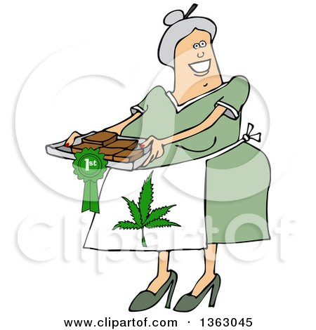 Clipart of a Cartoon Happy Chubby White Senior Woman Wearing a Pot Leaf Apron and Holding a Tray of First Place Fresly Baked Marijuana Brownies - Royalty Free Vector Illustration by djart