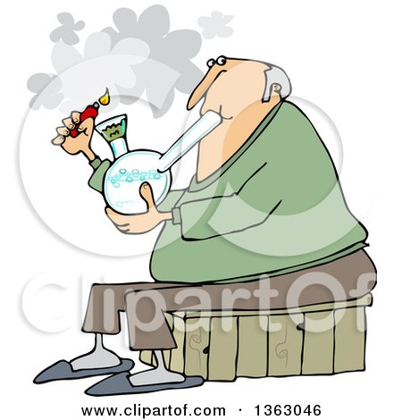 Clipart Of A Cartoon Chubby White Senior Man Lighting A Bong To Smoke Weed Royalty Free Vector Illustration
