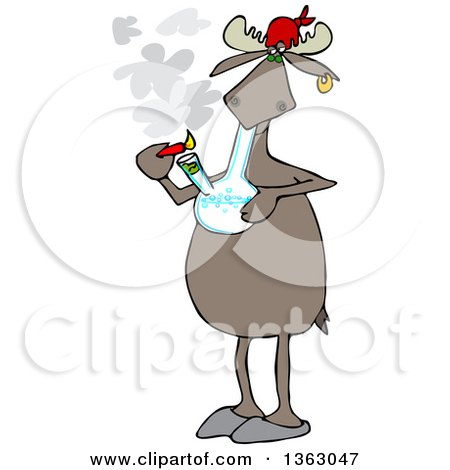 Clipart of a Cartoon Moose Smoking Pot with a Bong - Royalty Free Vector Illustration by djart