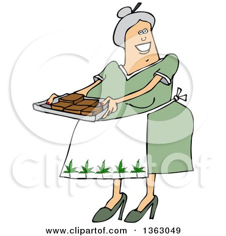 Clipart of a Cartoon Happy Chubby White Senior Woman Holding a Tray of Fresly Baked Marijuana Brownies and Wearing an Apron with Pot Leaves - Royalty Free Vector Illustration by djart