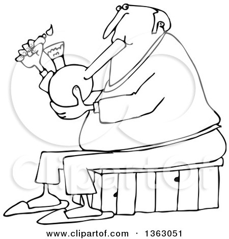 Clipart of a Cartoon Black and White Chubby Senior Man Lighting a Bong to Smoke Weed - Royalty Free Vector Illustration by djart