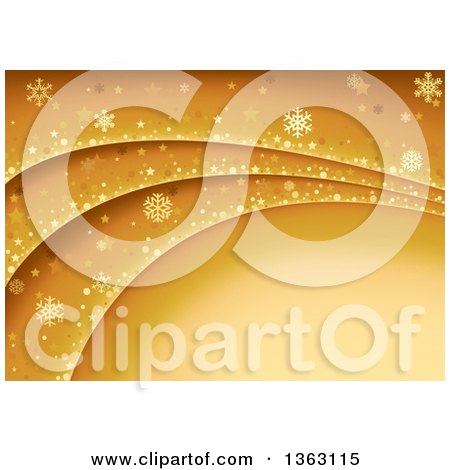 Clipart of a Golden Background of Snowflakes, Dots and Stars on Waves with Text Space - Royalty Free Vector Illustration by dero