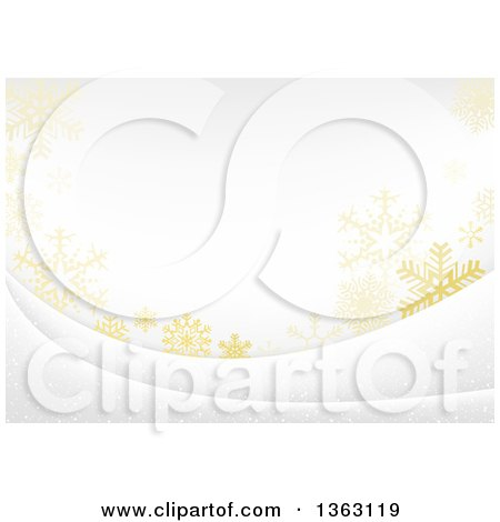 Clipart of a Christmas Background of Gold Snowflakes on White - Royalty Free Vector Illustration by dero