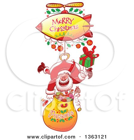 Clipart Of A Cartoon Santa Claus Hanging With A Gift Sack From A Zeppelin With A Merry Christmas Greeting Royalty Free Vector Illustration