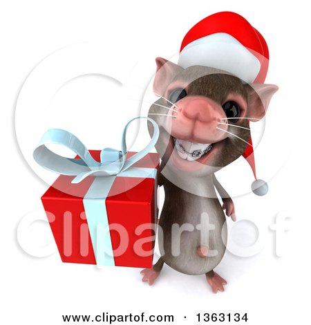 Clipart of a 3d Christmas Mouse with Braces, Holding up a Gift, on a White Background - Royalty Free Illustration by Julos