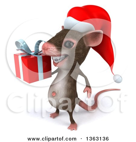 Clipart of a 3d Christmas Mouse with Braces, Holding a Gift, on a White Background - Royalty Free Illustration by Julos