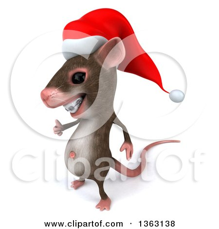 Clipart of a 3d Christmas Mouse with Braces, Giving a Thumb Up, on a White Background - Royalty Free Illustration by Julos