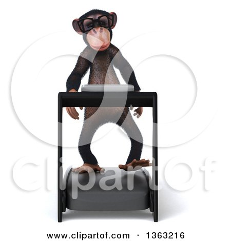 Clipart of a 3d Chimpanzee Monkey Walking on a Treadmill, on a White Background - Royalty Free Illustration by Julos