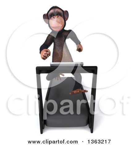 Clipart of a 3d Chimpanzee Monkey Running on a Treadmill, on a White Background - Royalty Free Illustration by Julos